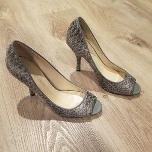 Nine West Gray Snakeskin Print Peeptoe Heels 6